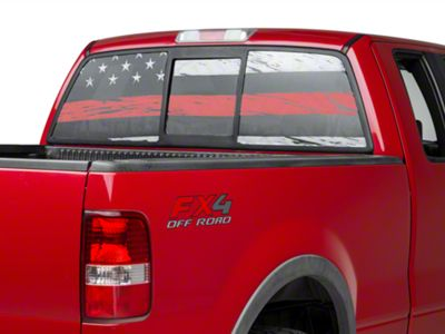 Perforated Real Flag Rear Window Decal w/ Red Line (97-19 F-150)