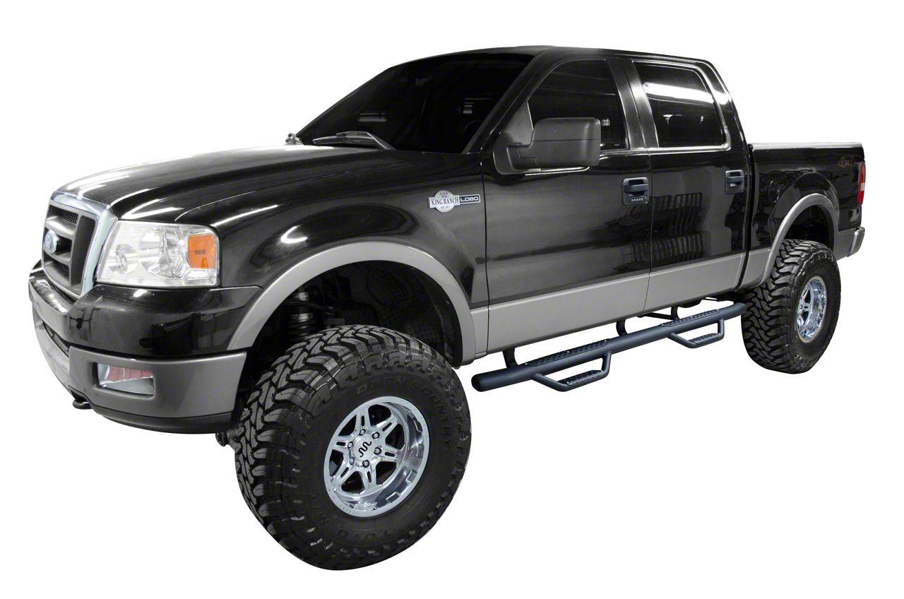 Go Rhino Dominator D2 Cab Length Side Step Bars - Textured Black (04-08 F-150 SuperCrew)