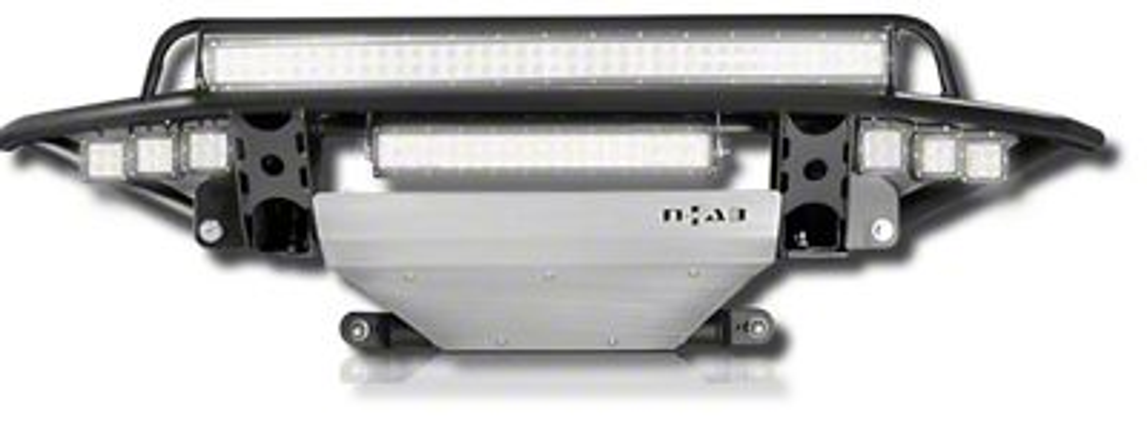 N-Fab RDS Radius Pre-Runner Front Bumper w/ Multi-Mount for LED Lights & Brushed Aluminum Skid Plate - Textured Black (09-14 F-150, Excluding Raptor)