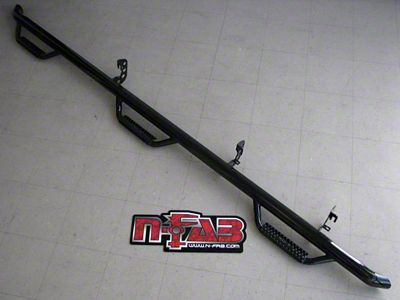 N-Fab Wheel 2 Wheel Bed Access Nerf Side Step Bars - Gloss Black (09-14 F-150 SuperCab w/ 6.5 ft. & 8 ft. Bed)