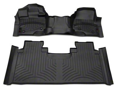 Weathertech DigitalFit Front & Rear Floor Liners - Over The Hump - Black (15-19 F-150 SuperCab w/ Vinyl Floors)