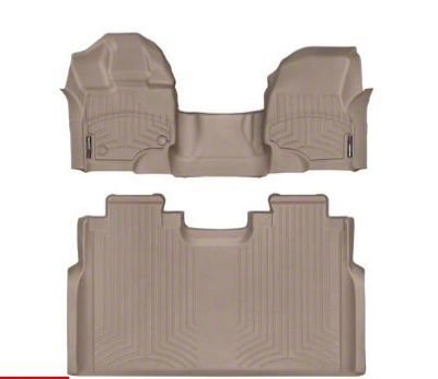 Weathertech DigitalFit Front & Rear Floor Liners - Over The Hump - Tan (15-19 F-150 SuperCrew)