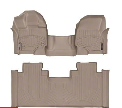 Weathertech DigitalFit Front & Rear Floor Liners - Over The Hump - Tan (15-19 F-150 SuperCab)