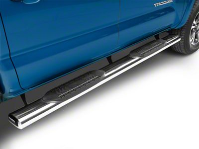RedRock 4x4 6 in. Oval Straight Side Step Bars - Stainless Steel (05-19 Tacoma Double Cab)
