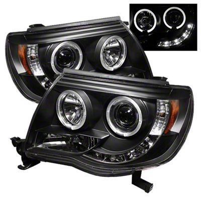 Axial Black Projector Headlights w/ LED Halos (05-11 Tacoma)