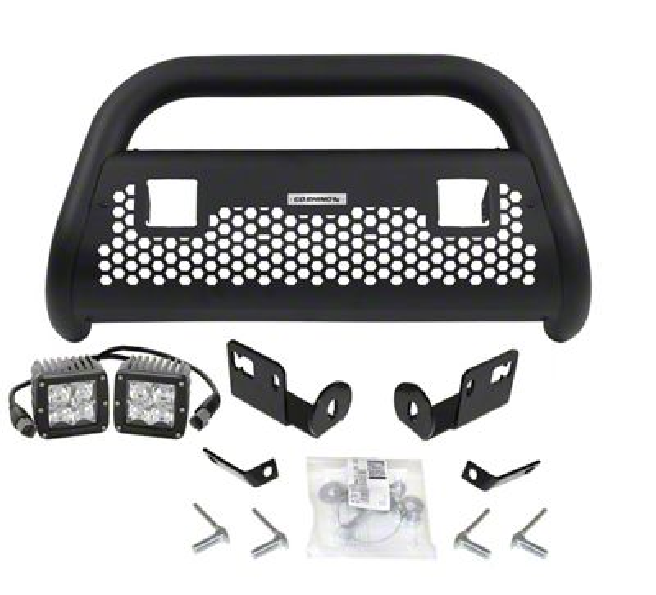 Go Rhino RC2 LR Bull Bar w/ Two LED Cube Light Mounting Brackets - Textured Black (05-15 Tacoma, Excluding TRD)