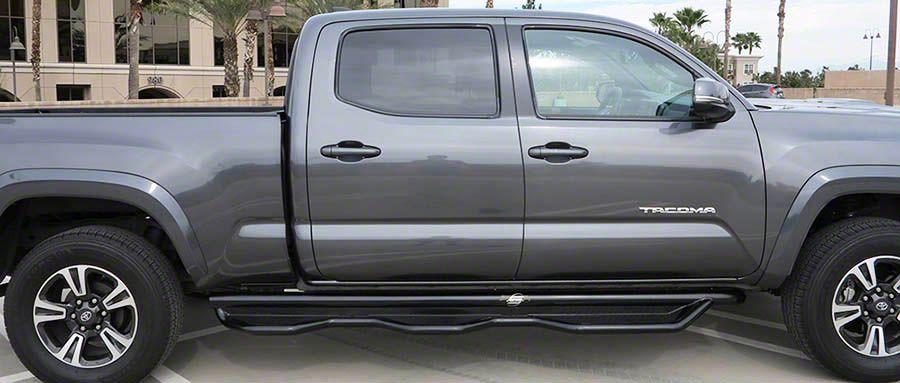Steel Craft Heavy Duty Wheel-to-Wheel Side Step Bars - Semi-Gloss Black (05-15 Tacoma Double Cab)