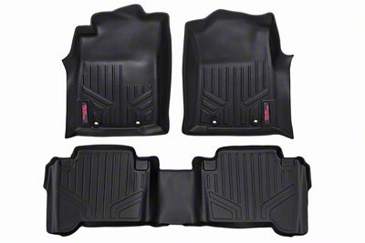 Rough Country Heavy Duty Front & Rear Floor Mats - Black (12-15 Tacoma Double Cab)