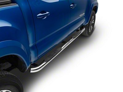Black Horse Off Road 3 in. Round Side Step Bars - Stainless Steel (05-19 Tacoma Double Cab)