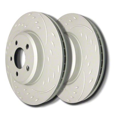 SP Performance Diamond Slot 6-Lug Rotors w/ Silver Zinc Plating - Front Pair (05-19 Tacoma)