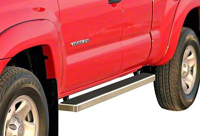 APS Auto 4 in. iStep Running Boards - Hairline Silver (05-19 Tacoma Access Cab)