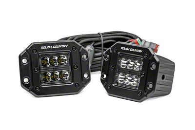 Rough Country 2 in. Black Series Flush Mount LED Ditch Lights - Spot Beam - Pair