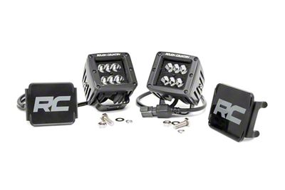 Rough Country 2 in. Black Series LED Ditch Lights - Spot Beam - Pair