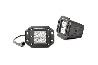 Rough Country 2 in. Chrome Series Flush Mount LED Ditch Lights - Spot Beam - Pair