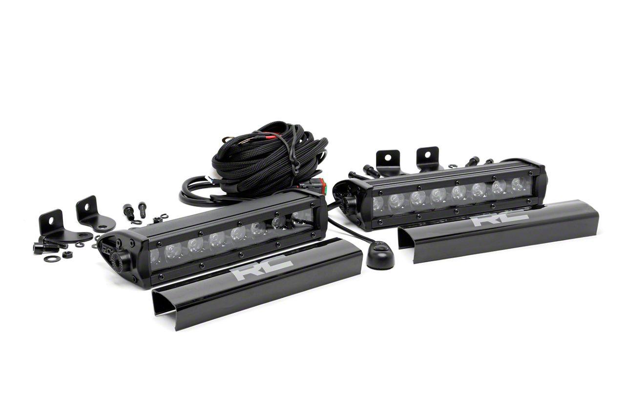 Rough Country 8 in. Black Series Single Row LED Light Bars - Spot Beam - Pair